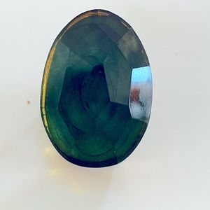 Green glass stone gold plated ring